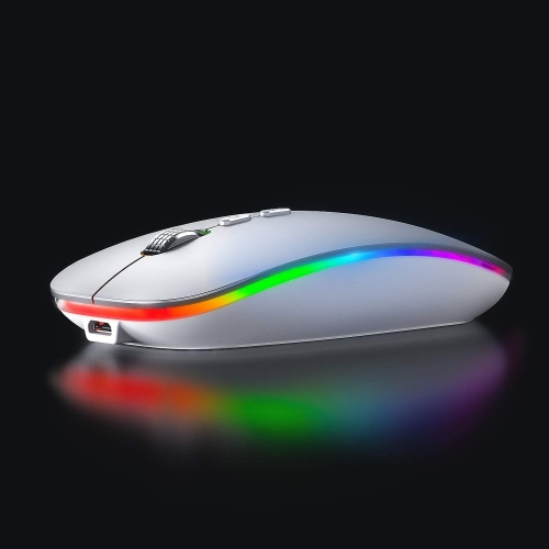 INPHIC LED Wireless Mouse, Rechargeable Silent 2.4G Wireless Computer Mouse with USB Receiver, RGB Backlit Cordless Mice for Laptop, PC,Mac, Silver